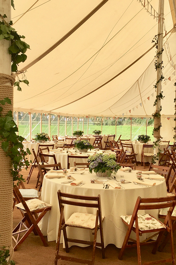 One of our marquees set up for a wedding