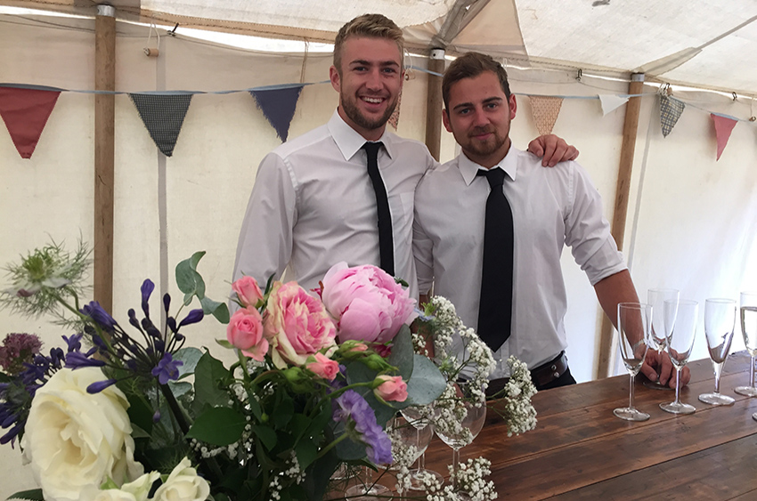 Our team helping at a wedding