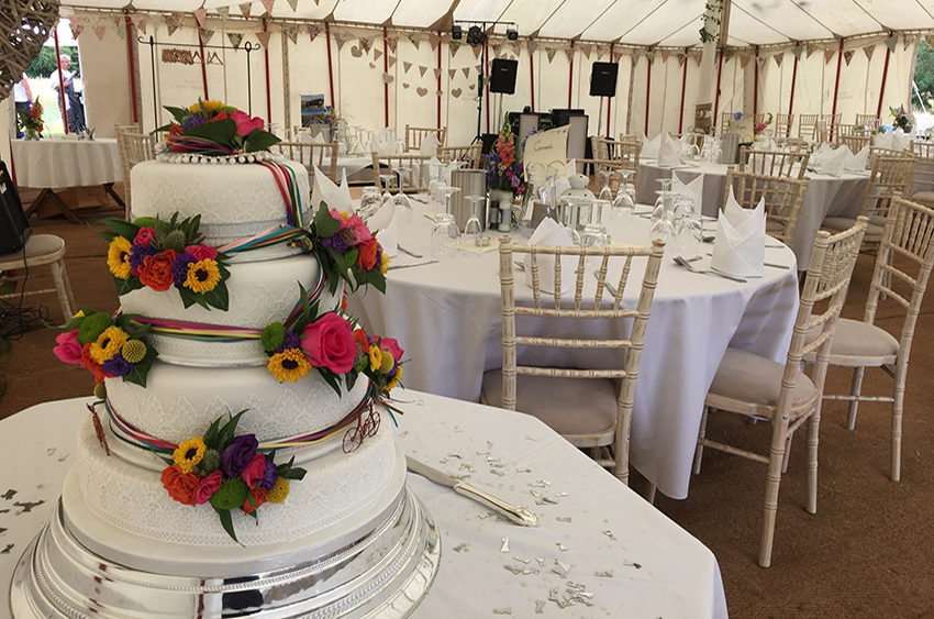 Wedding cake inside a marquee