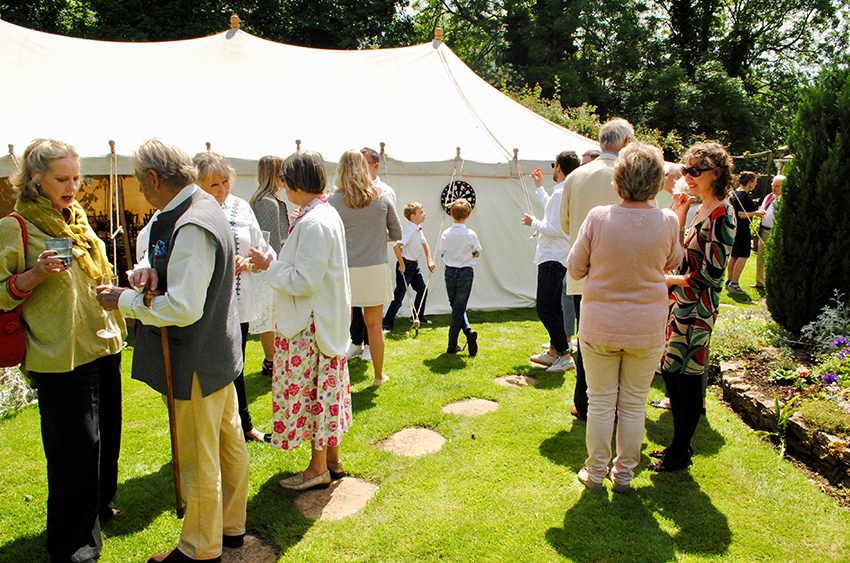 Wedding guests outside one of our lovely marquees